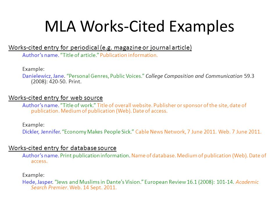 MLA Works Cited Core Elements