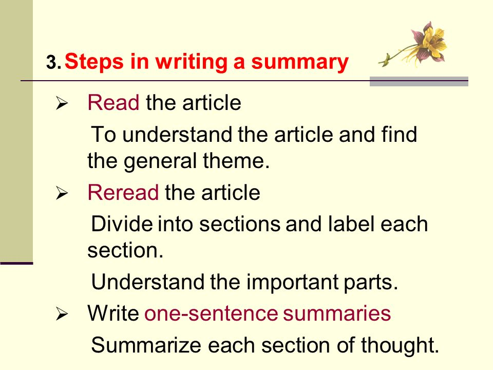 How to Write a Three Sentence Summary