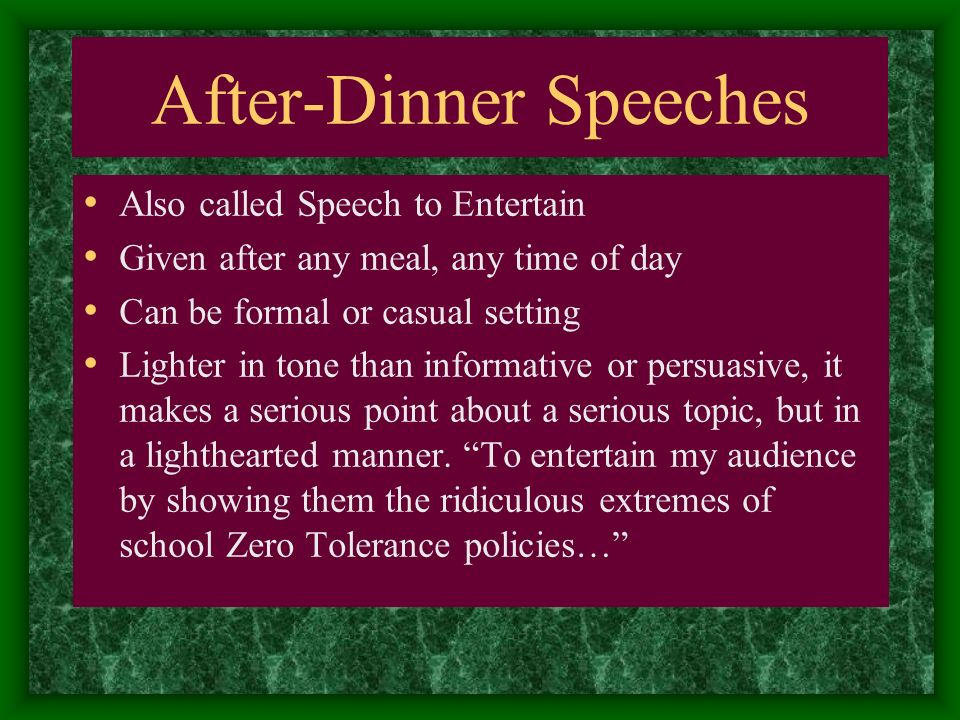 entertainment speech topics Speech topics it could be a funny impromtu speech or an informative speech prepared in advance it could be a pursuasive speech or a demonstrative one for help with choosing speech topics on various subjects, go through our speech topics and ideas.
