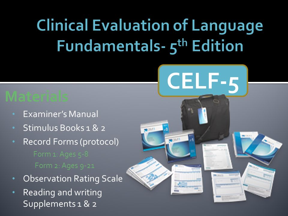 Clinical Evaluation of Language Fundamentals- 5th Edition - ppt ...