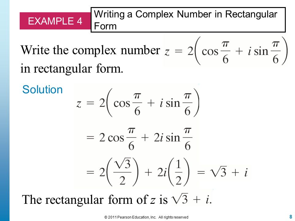 Polar Form and Rectangular Form Notation for Complex Numbers