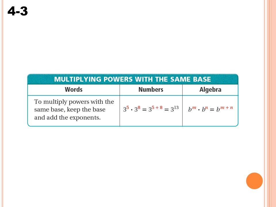 Warm Up Evaluate 4 4 b2 for b ppt download – Multiplying Powers with the Same Base Worksheet