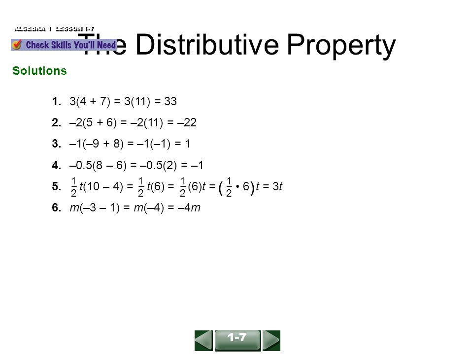 Simplify Expressions using Distributive Property and Combine Like Terms
