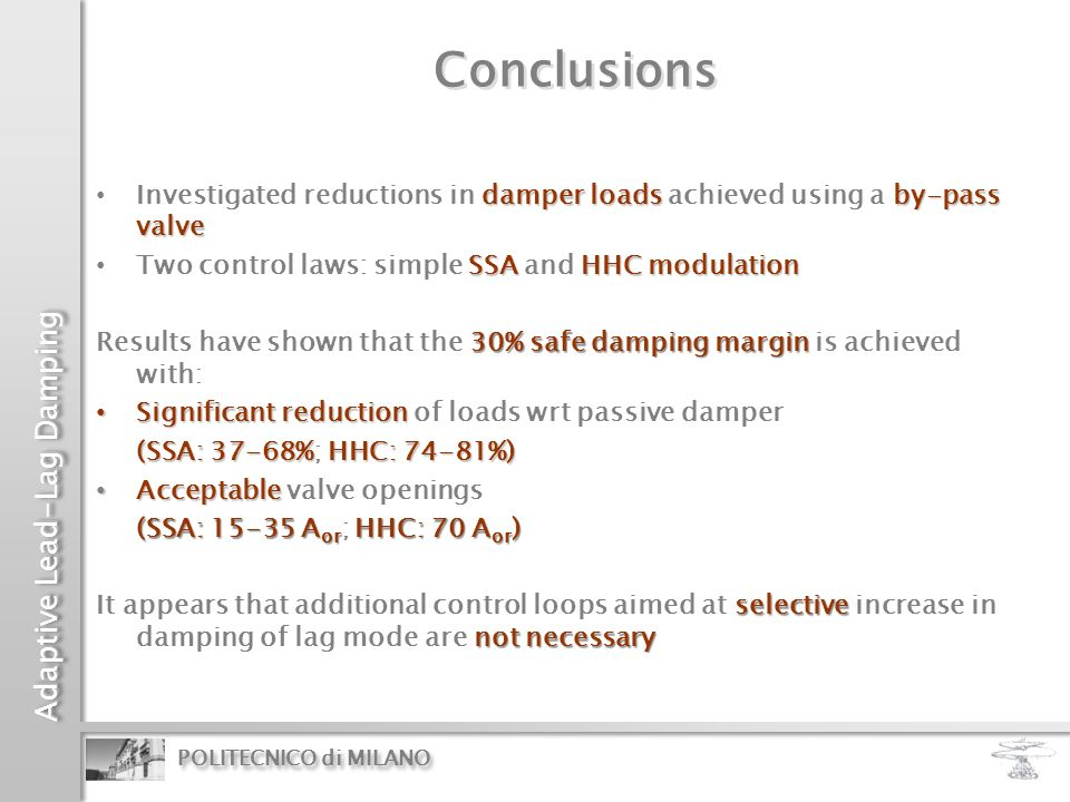 Conclusions Investigated reductions in damper loads achieved using a by-pass valve. Two control laws: simple SSA and HHC modulation.