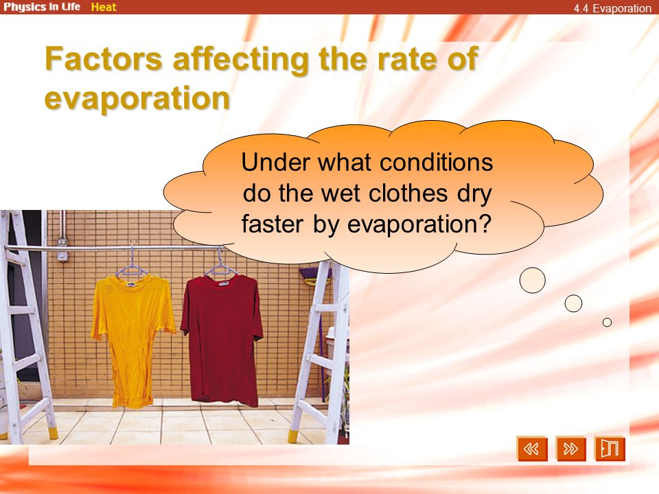 what affects the rate of evaporation The temperature of water and the air above it affect the rate of evaporation the rate of emission of molecules from liquid water is a function of temperature the higher the temperature, greater.