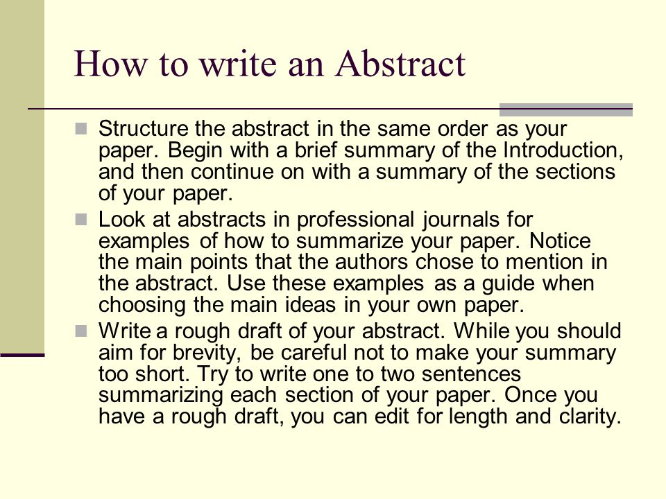 abstract writing sample Learn how to write a good abstract from the best abstract examples here you can find quality help with sample abstracts or order an original, custom written paper.