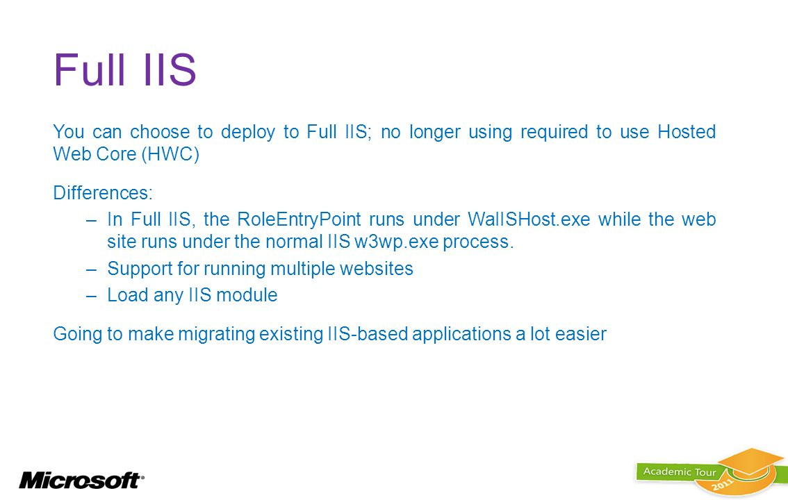 Full IIS You can choose to deploy to Full IIS; no longer using required to use Hosted Web Core (HWC)