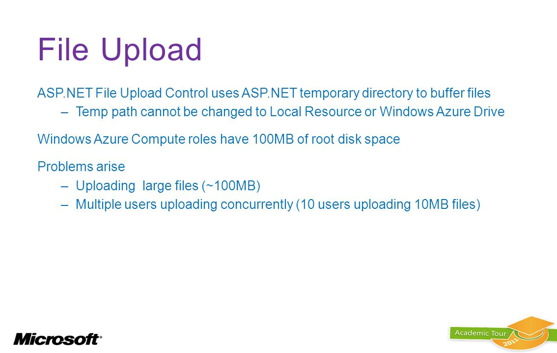 File Upload ASP.NET File Upload Control uses ASP.NET temporary directory to buffer files.