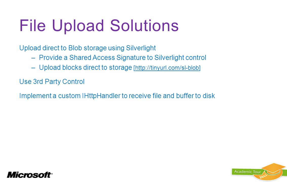 File Upload Solutions Upload direct to Blob storage using Silverlight
