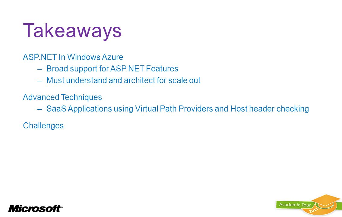 Takeaways ASP.NET In Windows Azure Broad support for ASP.NET Features