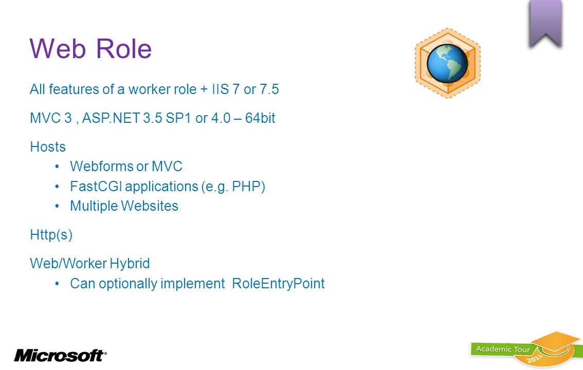 Web Role All features of a worker role + IIS 7 or 7.5