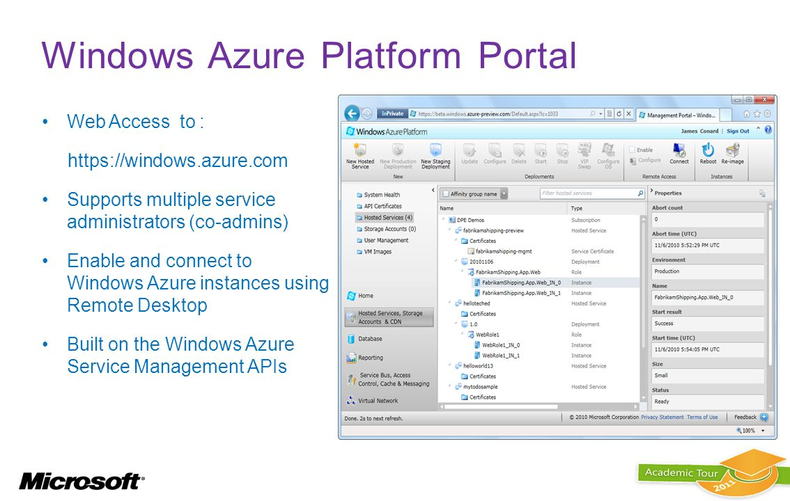 Windows Azure Platform Portal