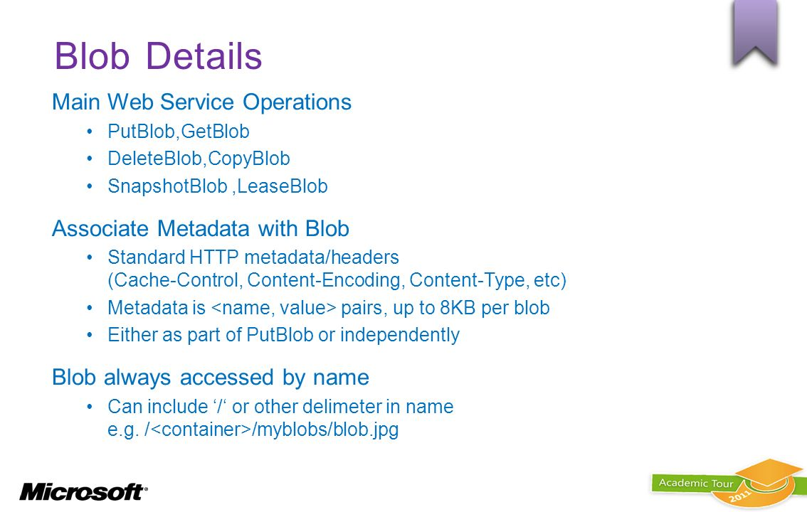 Blob Details Main Web Service Operations Associate Metadata with Blob