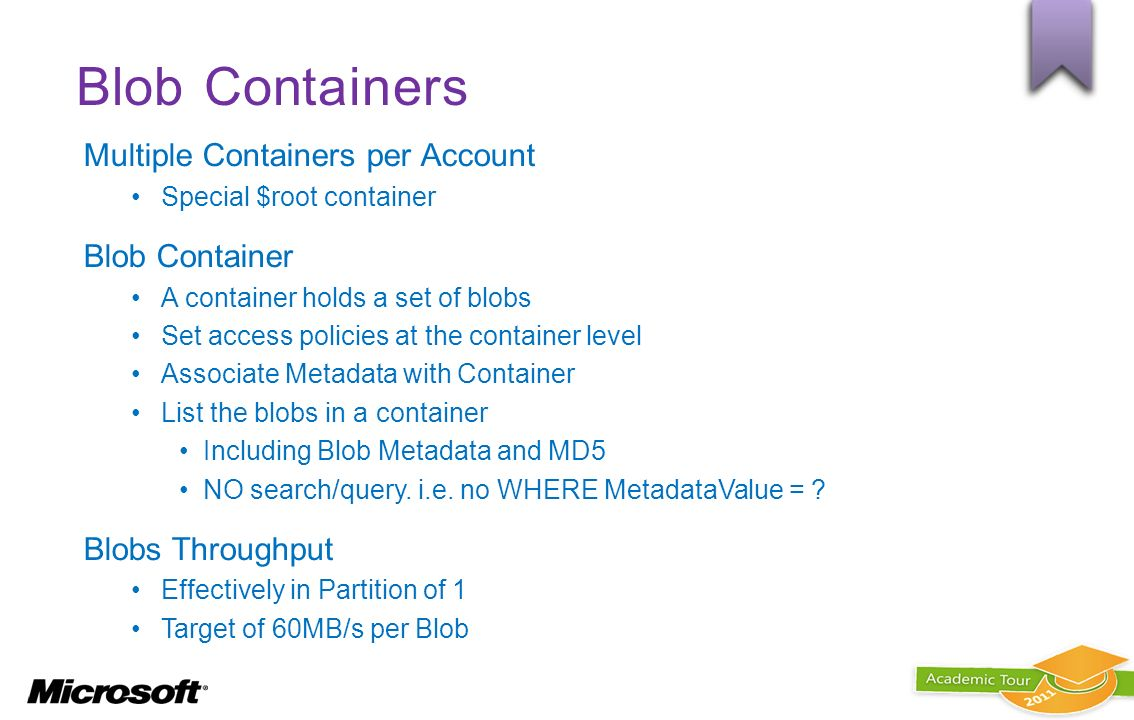 Blob Containers Multiple Containers per Account Blob Container