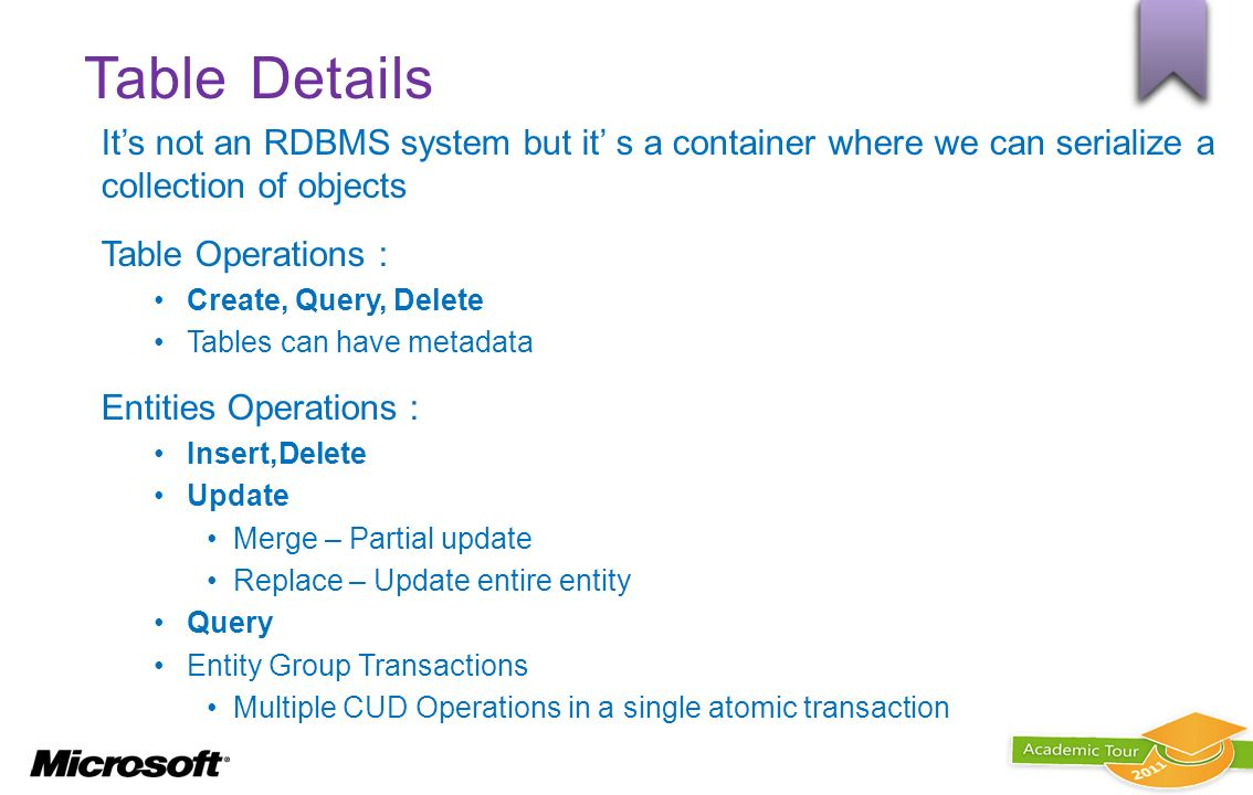 Table Details It's not an RDBMS system but it' s a container where we can serialize a collection of objects.