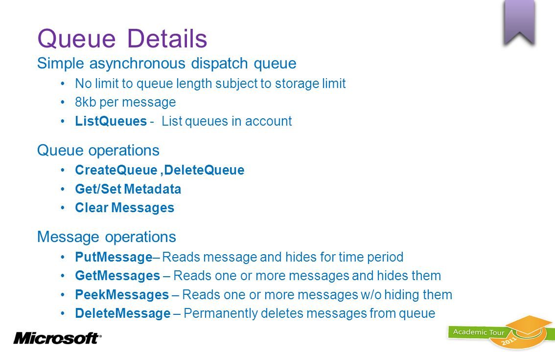 Queue Details Simple asynchronous dispatch queue Queue operations