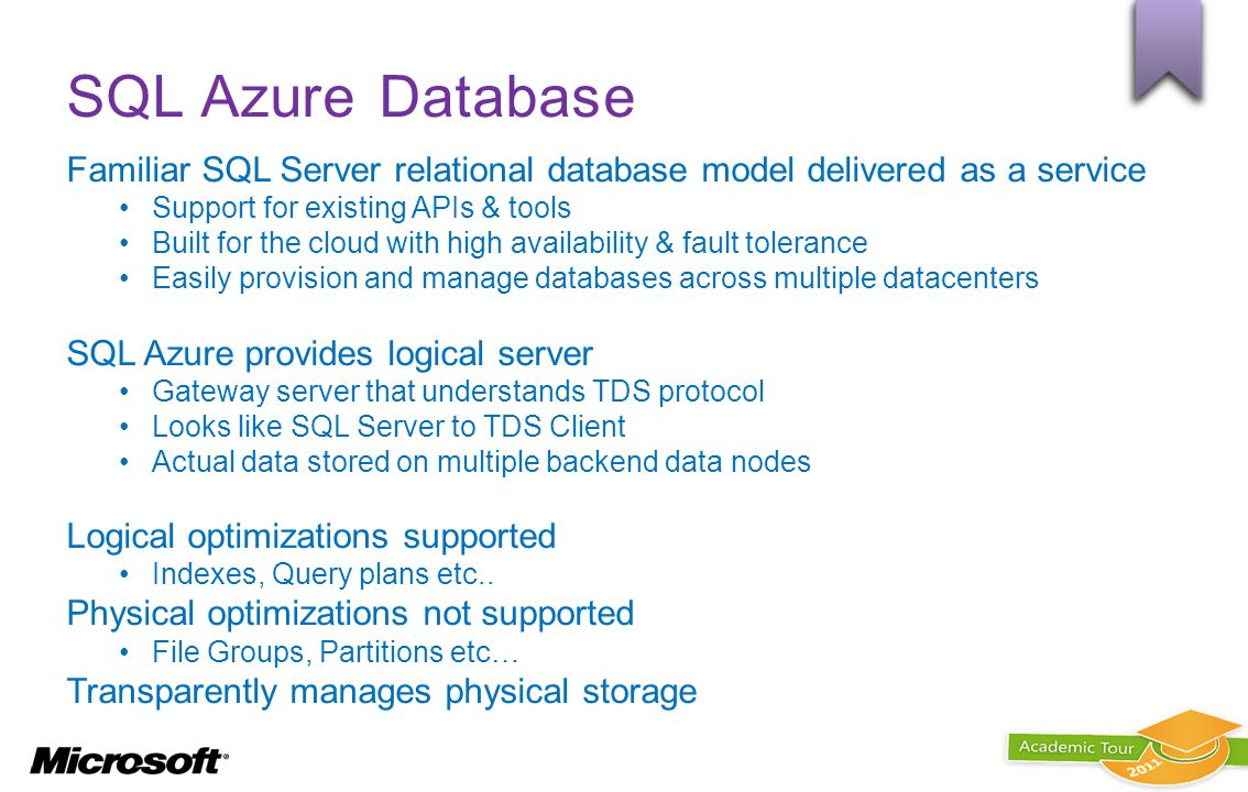 SQL Azure Database Familiar SQL Server relational database model delivered as a service. Support for existing APIs & tools.