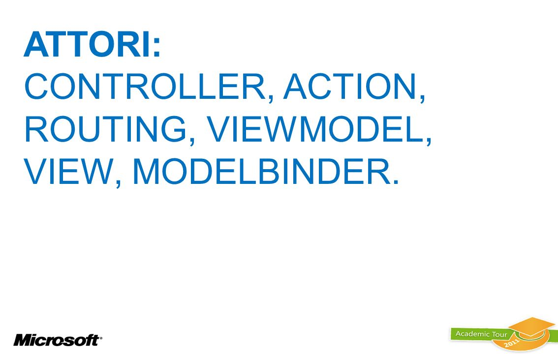 ATTORI: controller, action, routing, viewmodel, view, modelbinder.