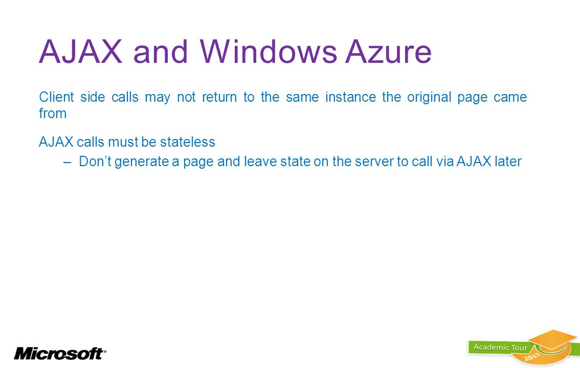 AJAX and Windows Azure Client side calls may not return to the same instance the original page came from.