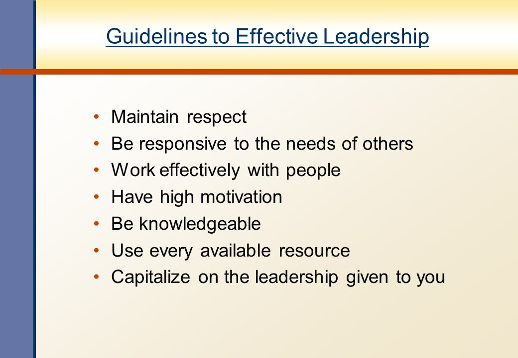 Guidelines to Effective Leadership
