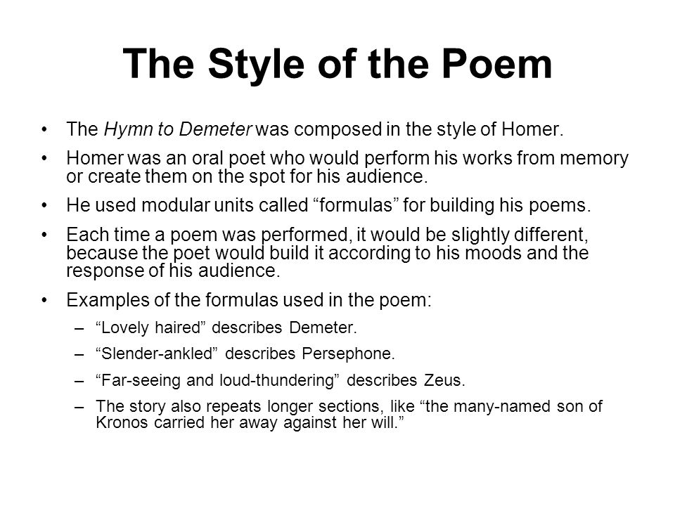 The Homeric Hymns - The Hymn to Demeter Summary & Analysis