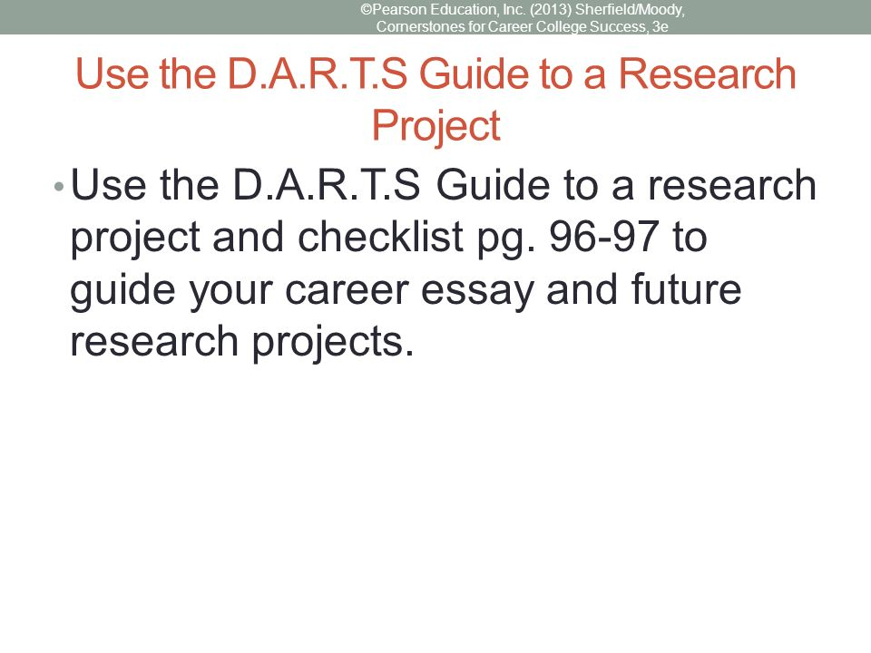 instructions for doing a career research project Project-based learning (pbl) is a student-centered pedagogy that involves a  dynamic  another definition of project-based learning includes a type of  instruction,  by integration of digital skills especially when asking students to do  research,  classes are designed to help diverse students become college and  career.