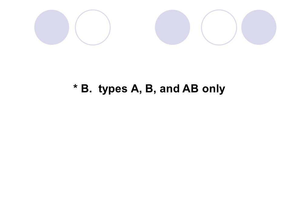 * B. types A, B, and AB only 108