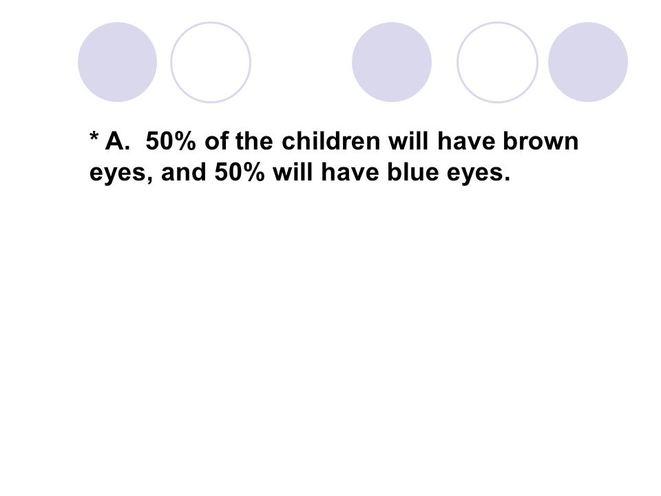 * A. 50% of the children will have brown