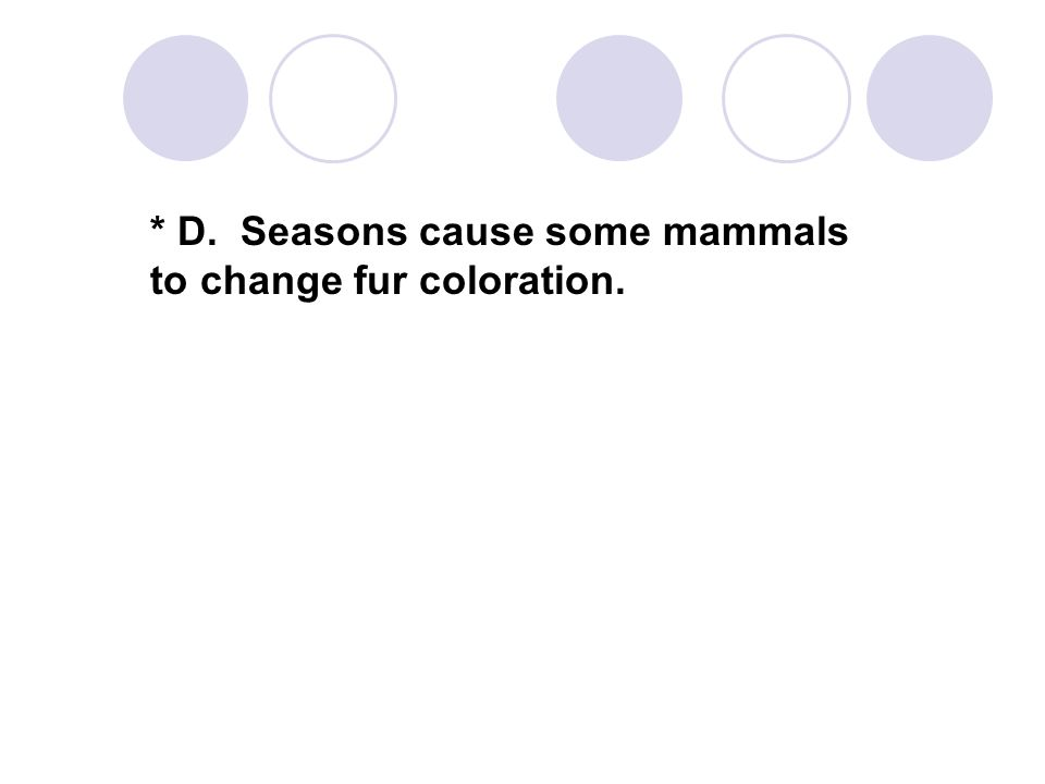 * D. Seasons cause some mammals to change fur coloration.