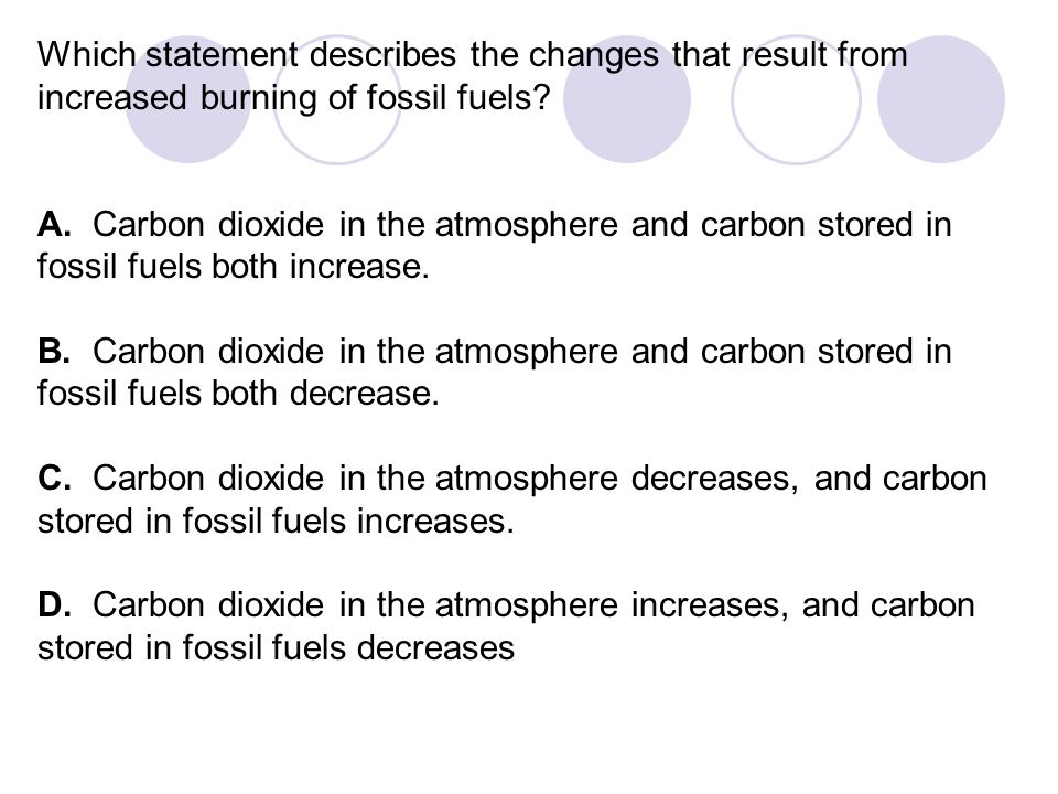 Which statement describes the changes that result from increased burning of fossil fuels