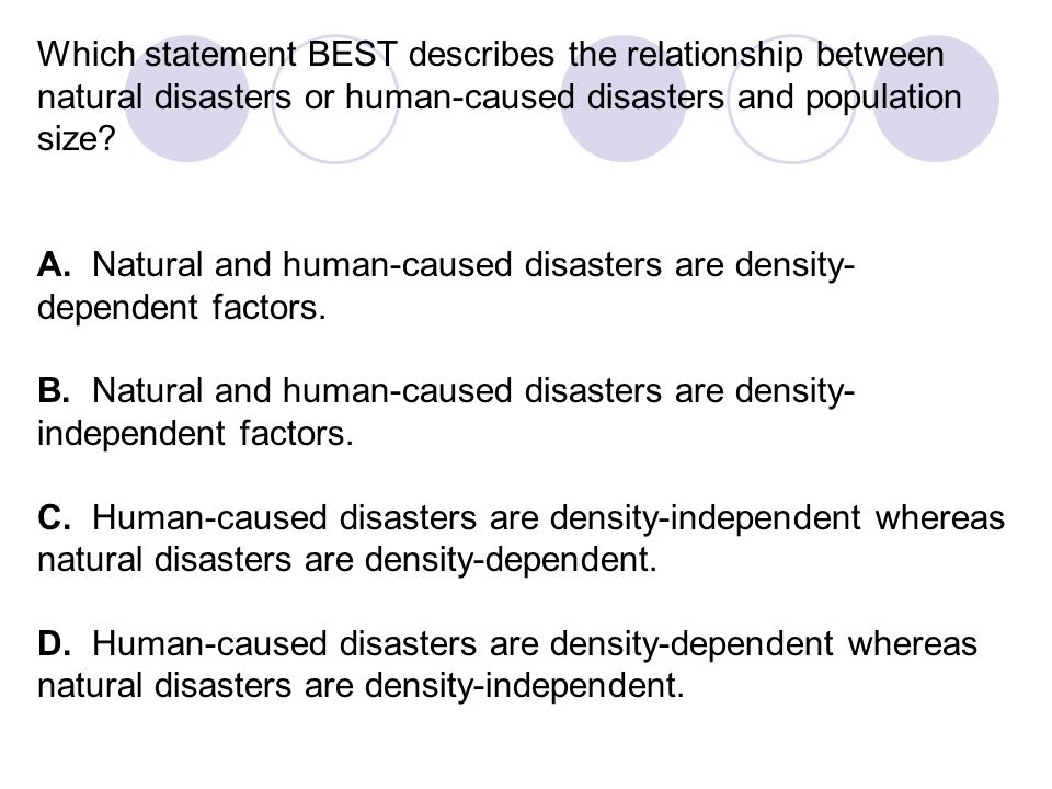 Which statement BEST describes the relationship between natural disasters or human-caused disasters and population size