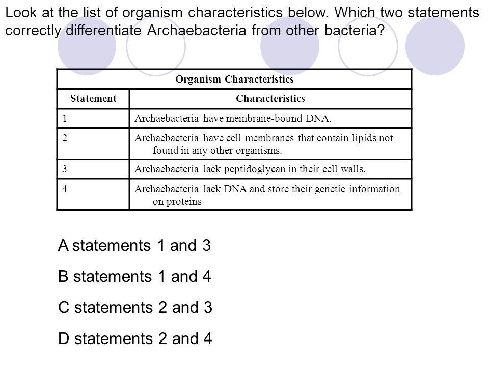 Organism Characteristics