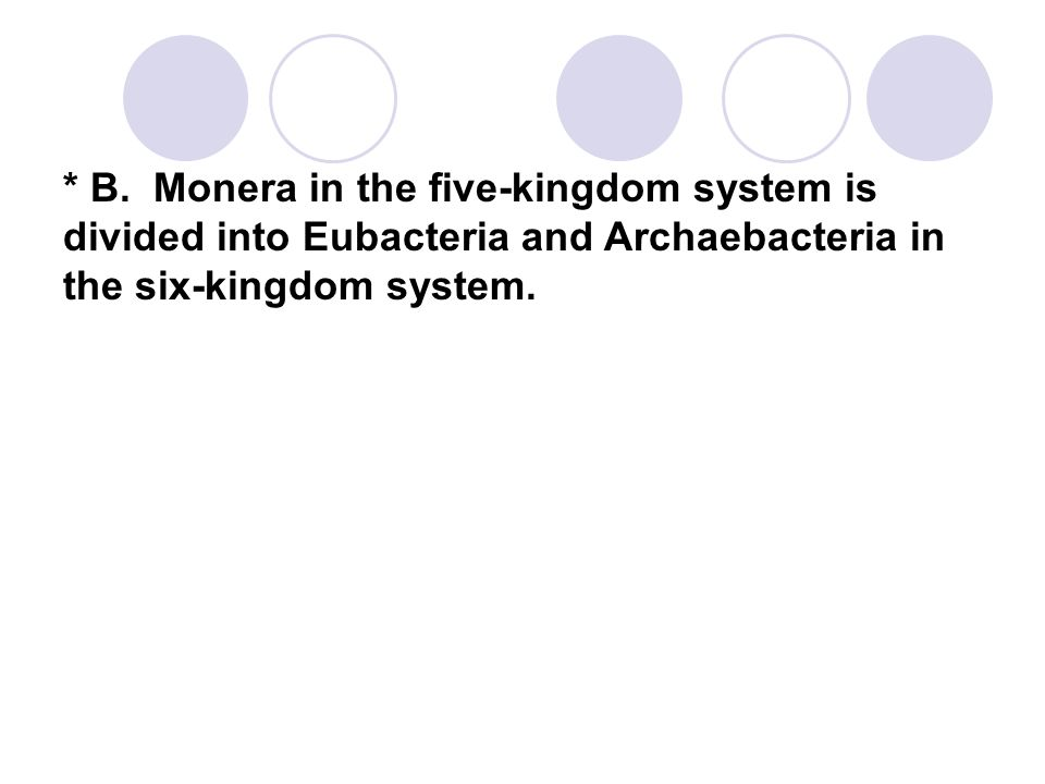 * B. Monera in the five-kingdom system is