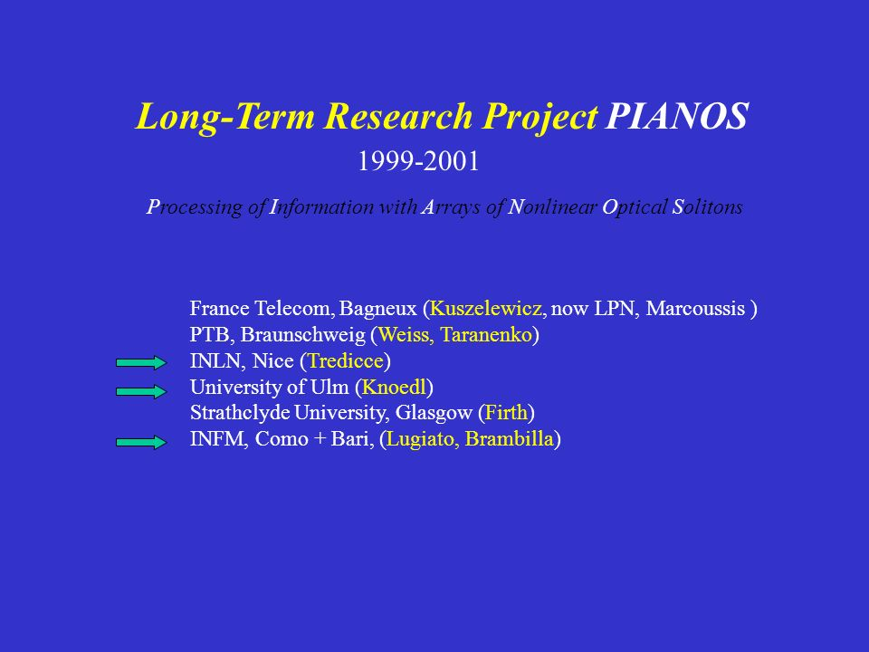 Long-Term Research Project PIANOS