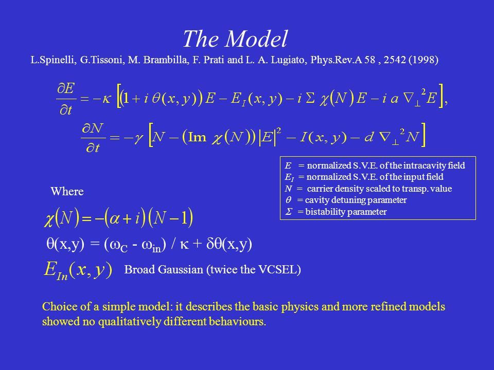 The Model (x,y) = (C - in) /  + (x,y) Where