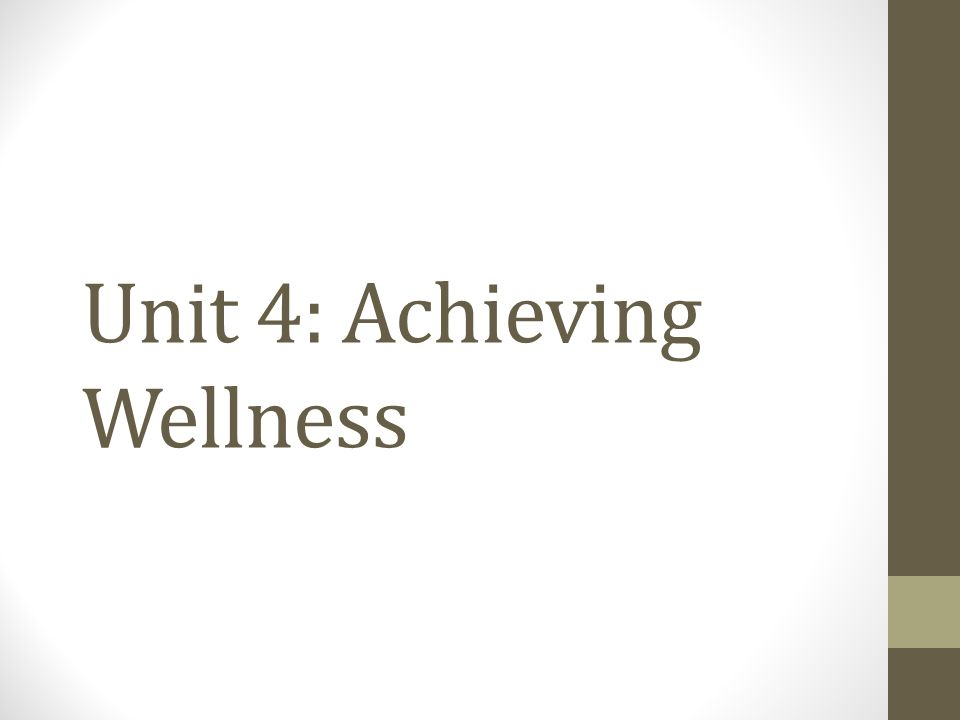 Unit 4: Achieving Wellness