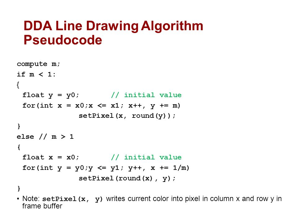 Bresenham Line Drawing Algorithm Pseudocode : Lecture raster graphics and scan conversion ppt