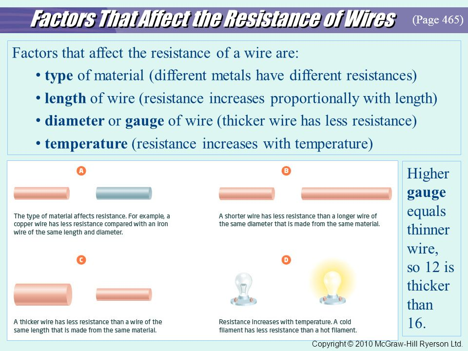 factors affecting resistance of a wire I am going to investigate what factors affect the resistance of a wire there are three main factors which affect the resistance of a wire.