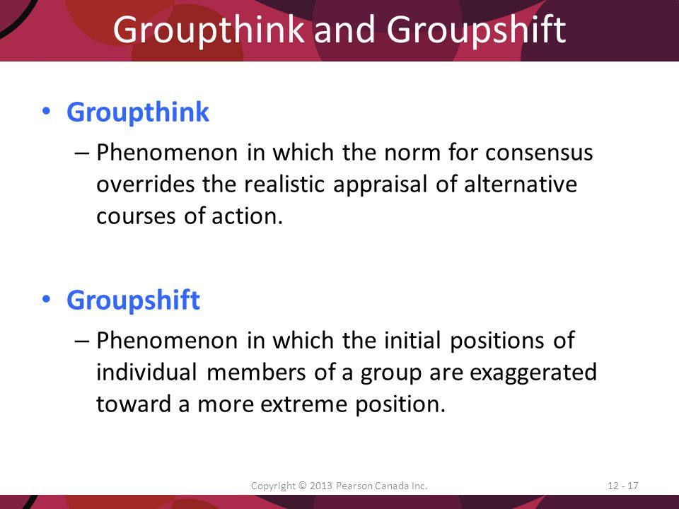 groupthink consensus overrides realistic appraisal of Groupthink is a psychological phenomenon that occurs within a group of people  in which the  group members try to minimize conflict and reach a consensus  decision without critical evaluation of alternative viewpoints by  in a cohesive  ingroup that it tends to override realistic appraisal of alternative courses of action.