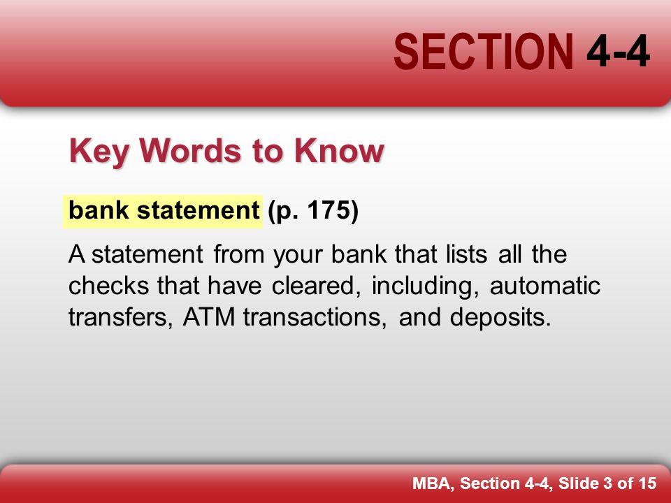 Section 4-4 Pp Bank Statements. - Ppt Download