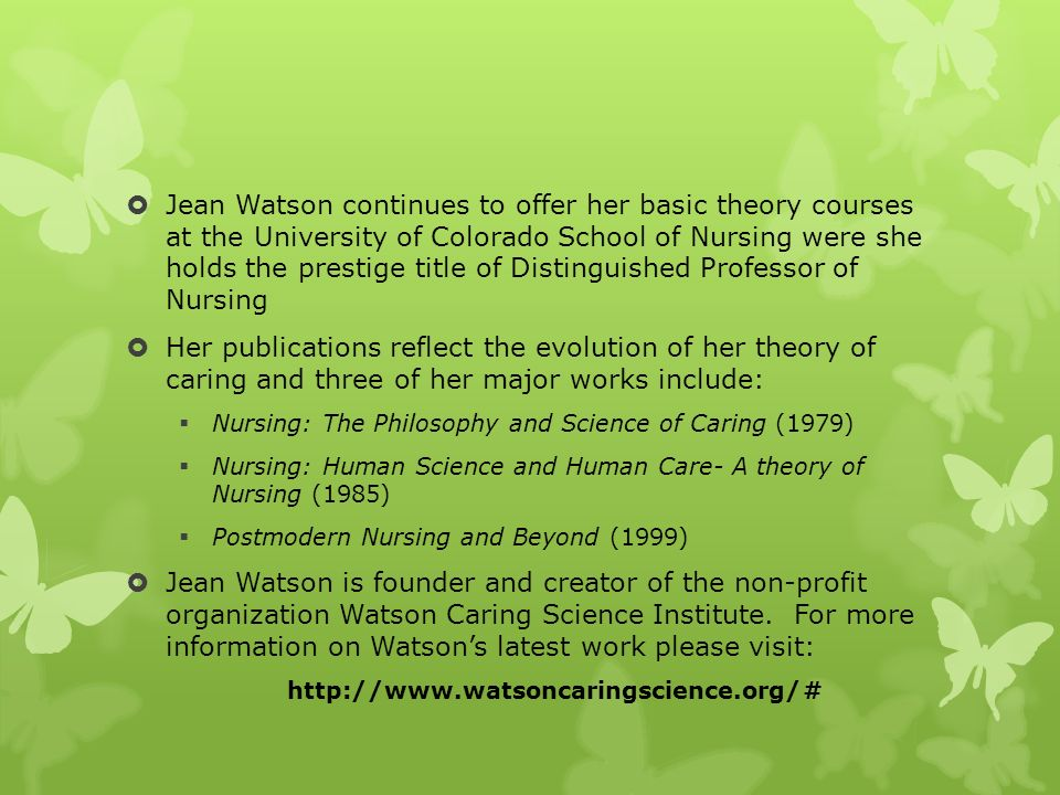 case study of jean watson caring theory Publications by authors named jean watson are you jean watson  a case  study based on watson's theory of human caring: being an infertile woman in.