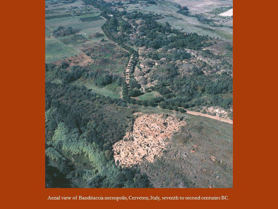 Aerial view of Banditaccia necropolis, Cerveteri, Italy, seventh to second centuries BC.