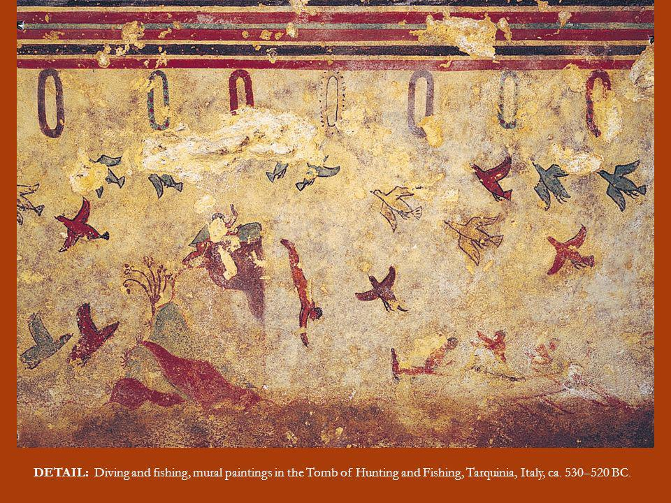 DETAIL: Diving and fishing, mural paintings in the Tomb of Hunting and Fishing, Tarquinia, Italy, ca.