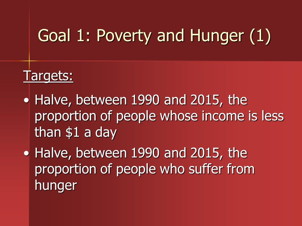 Goal 1: Poverty and Hunger (1)