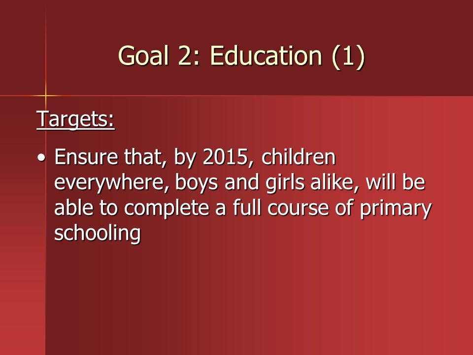 Goal 2: Education (1) Targets:
