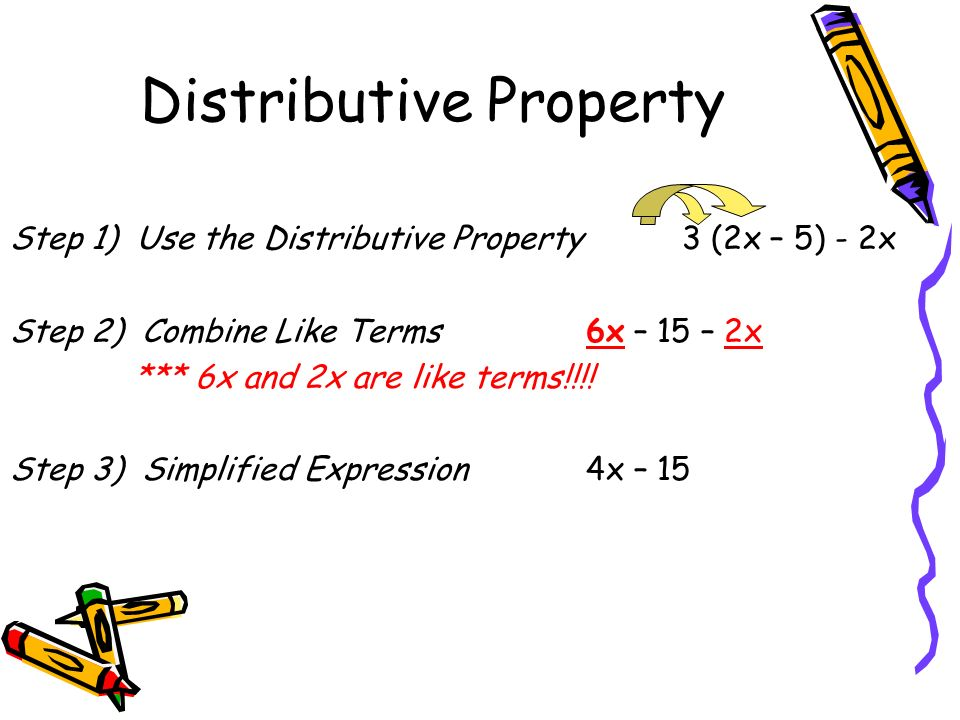 Use the distributive property and combine like terms worksheet answers