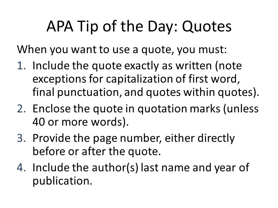Quotes Within Quotes Best Apa Tip Of The Day Quotes  Ppt Download