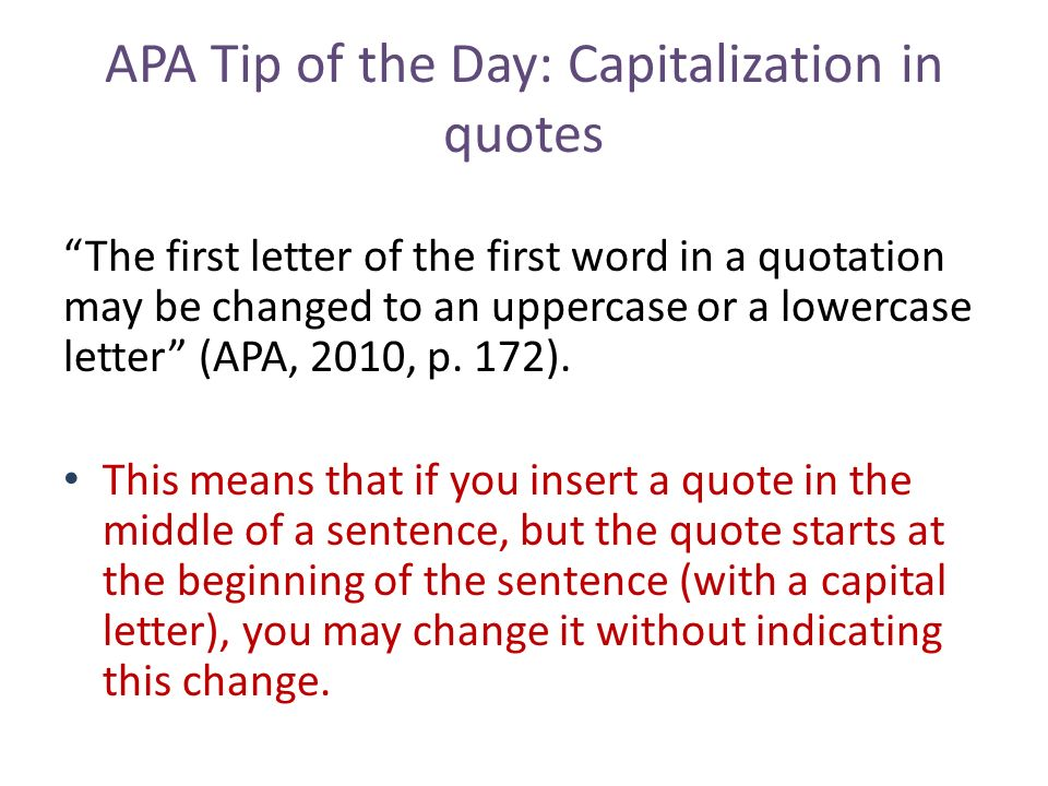 Apa Tip Of The Day: Quotes - Ppt Download