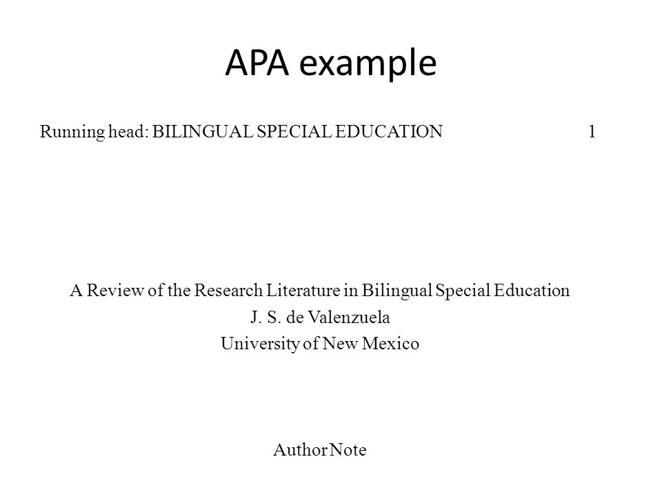 Apa literature review running head