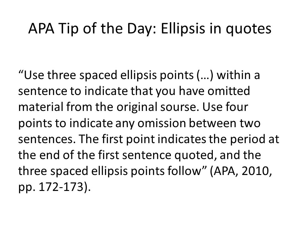 Using Two Quotes In One Sentence: APA Tip Of The Day: Quotes